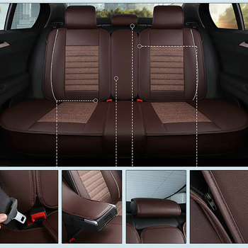Kalaisike Leather Plus Flax Universal Car Seat Cover For Lincoln All Models MKS MKZ MKC MKX Auto Accessories Car Styling