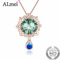 Almei Malachite Cubic Zirconia Pendant 925 Sterling Silver Rose Gold Color Women Necklace Wedding Jewelry with Chain Box CN066