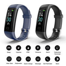 Get more info on the Smart Bracelet S5 Fitness Waterproof Watch 0.96 Inch Touch Screen Bluetooth Heart Rate Sports Band Wristband Display Color