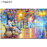 Large Handpainted Lover Kiss on bench Oil Painting On Canvas Wall Pictures For Living Room Home Decor Street Tree Lamp Landscape