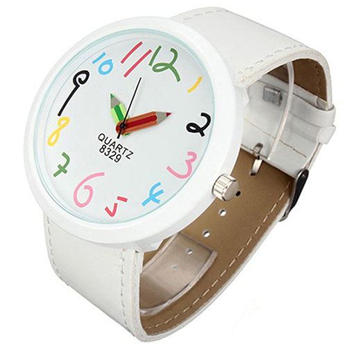Hot Sales 2015 hot Brand Women watches Big Case Pointer Girls Leather Strap Quartz White Pencil Wrist Watch 1GU3 6T58 high quality cartoon pencil hand colored number funny watch leather band fashion womage pencil pointer women quartz wrist watch