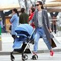 Cochecito de bebé puede sentarse y acostarse en el verano de cuatro ultra portátil bebé carro coche paraguas plegable de la suspensión de la rueda alta landscap
