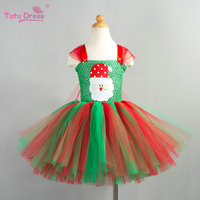 Christmas Tutu Dress Red Green Tutu Dress Baby Girl Christmas Outfit Santa Claus Patch Cartoon Tulle