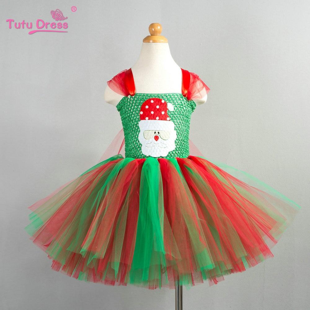 Christmas Tutu Dress Red green Tutu Dress Baby Girl Christmas Outfit Santa Claus Patch Cartoon Tulle Dress