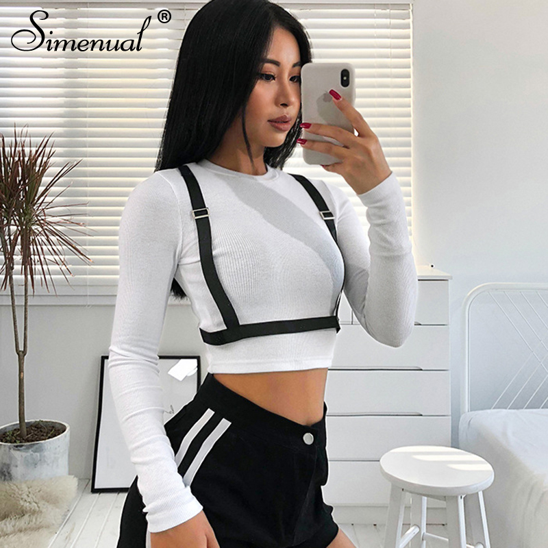 Simenual Strap White T Shirt Women Long Sleeve Crop Tops Korean 2019 Streetwear Slim T-shirt Female Spring Basic Clothing Sale