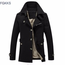 FGKKS 2018 Men Solid Color Male Veste Homme Casual Slim Fit Overcoat Jacket