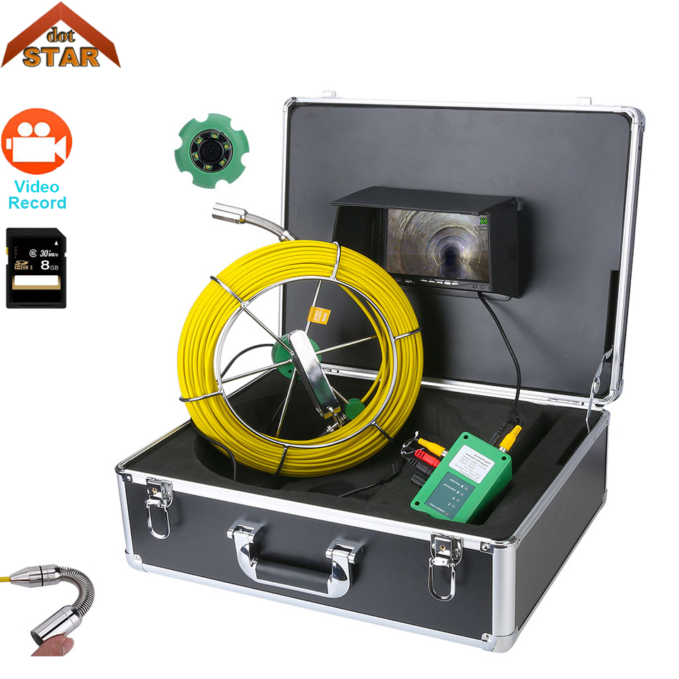 Pipe Pipeline Inspection Camera, 7inch 1000TVL DVR Recorder Drain sewer Industrial Endoscope Waterproof IP68 Snake Video System