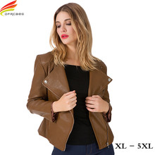 Woman Winter Coats And Jackets 2018 New Arrival Euro Style Casual Snake Skin Zipper Rider Leather Jacket 5XL Bomber Jacket Tops