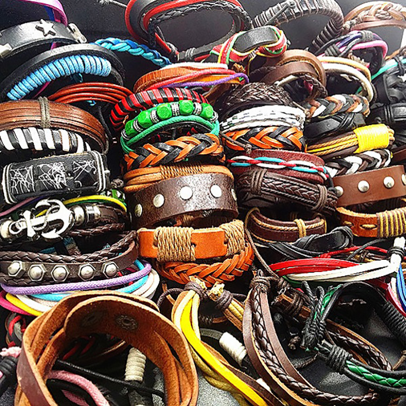 Wholesale Bulk Lots 50pcs Mixed Styles Mens Womens blank brown colorful Handmade Leather Cuff Bracelets Surfer Jewelry