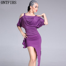 ONTFIHS Girl Long Sleeves Latin Dance Dress Adult Ballroom Dance Dresses womenSalsa Rumba Cha Cha Samba Tango Dress