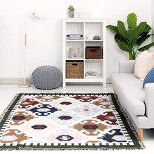 Kilim 100%インド綿ボヘミアンカーペット用リビングルーム寝室のベッドサイドウィルトン敷物幾何学的現代マット付き北欧スタイル