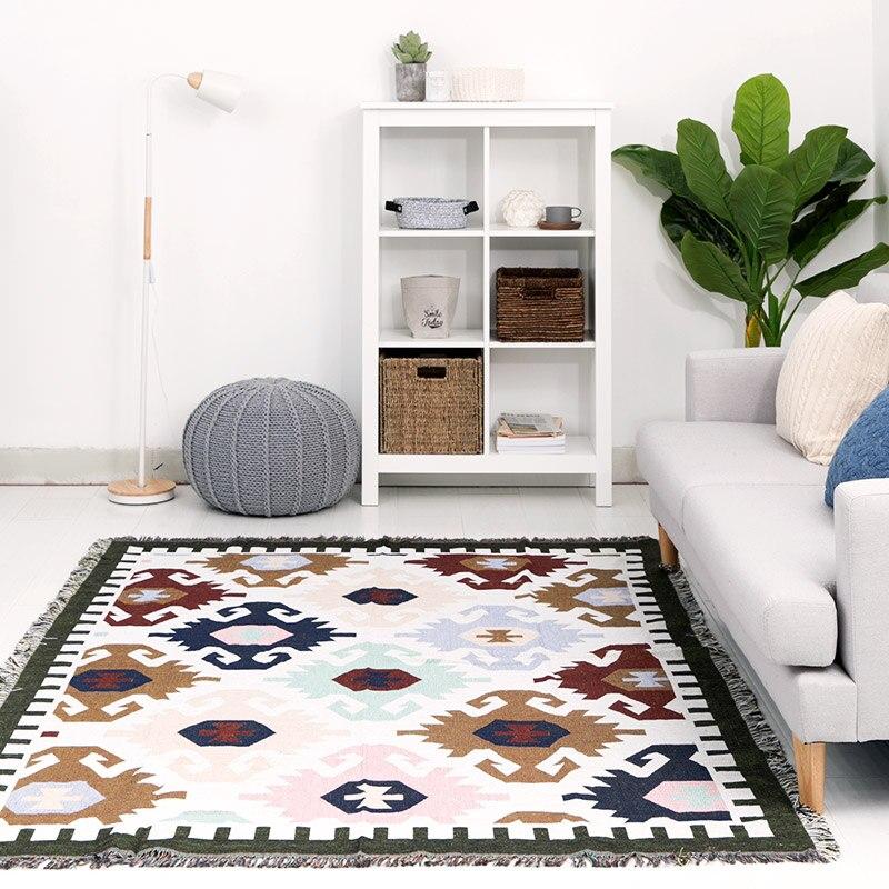 Kilim 100% inde coton bohème tapis pour salon chambre chevet Wilton tapis géométrique moderne tapis avec style nordique