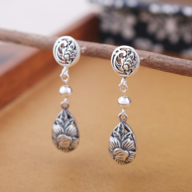 100% handmade 9*38mm women jewelry 925 pure sterling silver cute Retro cute Bohemia mosaic Lotus leaves water drop shape flowers