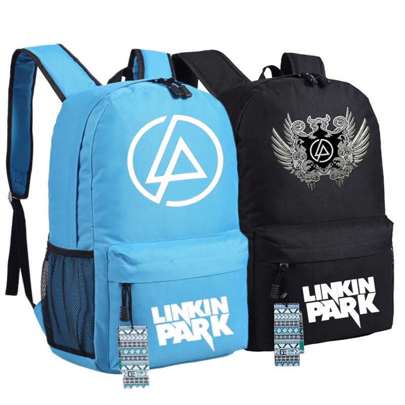 High Quality 2017 New Rock Style Linkin Park Canvas Printing Unisex Women Printing Fashion Backpack School Bags For Teenagers