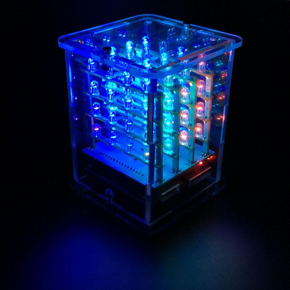 ¡2018NEW! Keyesstudio 4*4*4 RGB Kit De Inicio De Cubo De Pantalla LED Para Arduino Proyecto + Tarjeta De Controlador RGB + Módulo FDTI (sin Ensamblar)