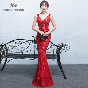 Image 3 - evening dresses 2019 sexy v neck mermaid balck/blue/red sequin women formal dress floor length in stock evening gown