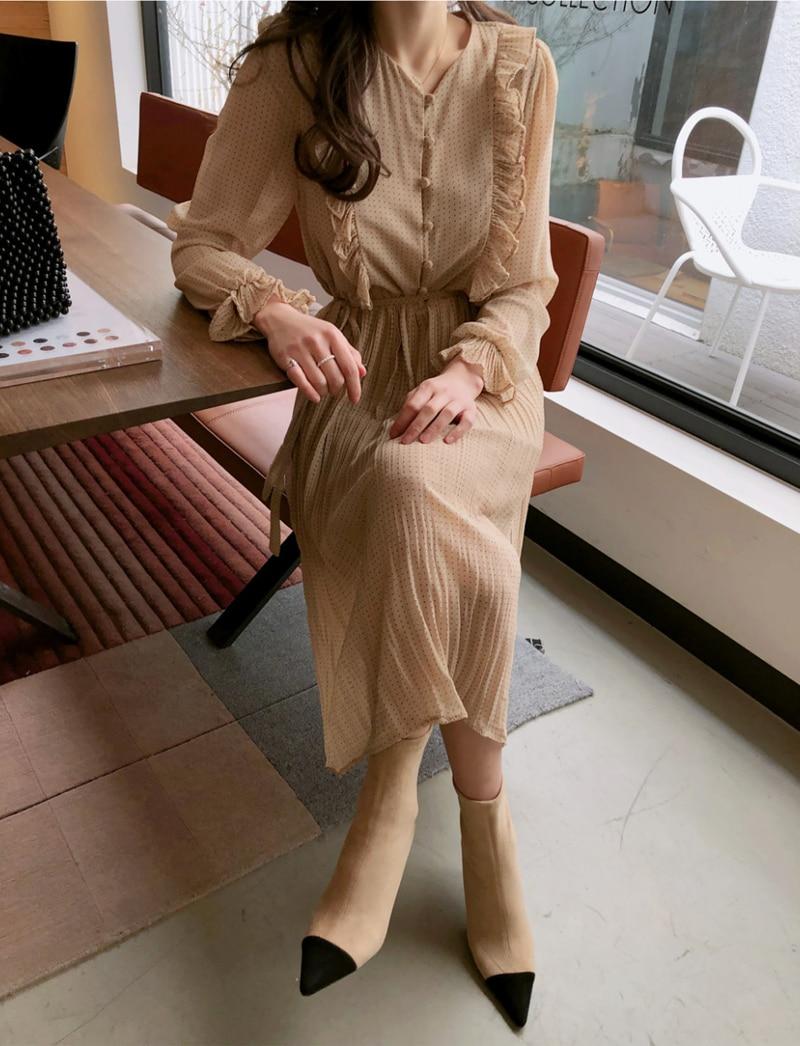 BGTEEVER Vintage O-neck Ruffles Chiffon Women Dress Flare Sleeve Polka Dot Lace Up Female Dress Two Layers Pleated Vestidos 9
