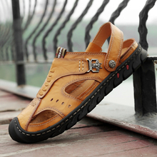 купить Men Sandals 2019 Fashion Genuine Leather Cowhide Men Sandals Summer Quality Beach Slippers Casual Sneakers Outdoor Beach Shoes дешево