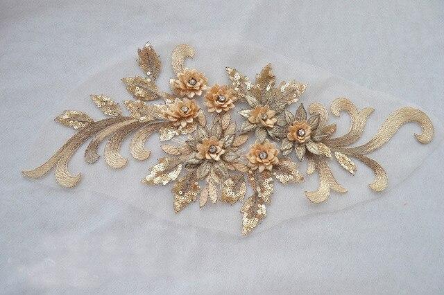 Nuovo arrivo oro chiaro applique del merletto del fiore con la