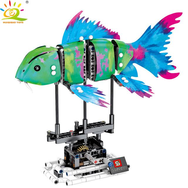 HUIQIBAO 342Pcs Simulated animal Fish DIY model Building Blocks Sets Technic ideas city bricks Educational Toys for children Boy