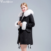 Fanshefeier Women's Winter Real natural Fox fur Collar Coat Winter Jackets Female Long Hooded Natural fur Parka