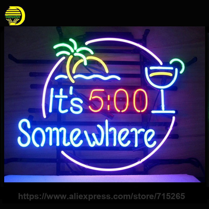 NEON SIGN For ITS 500 SOMEWHERE Signboard REAL GLASS BEER BAR PUB display christmas Light Signs 17*14 Business Night Light