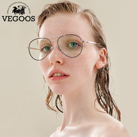 VEGOOS רטרו אנטי ריי הכחול נירוסטה משקפיים מסגרת משקפיים אופנה משקפי שמש שפה מלאה #5105 עדשות Bluecut ברור goggle