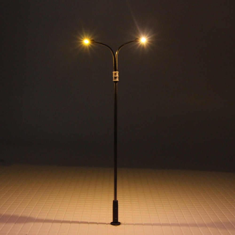 10 sztuk HO TT skala 1:100 dwie głowa model lampa ledowa Post 10cm pociąg kolejowy uliczna sceneria LQS13 darmowa wysyłka