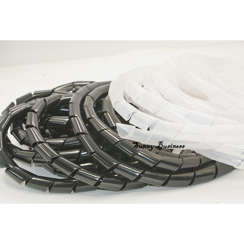 6mm Outside Dia 17M PE Polyethylene Spiral Cable Wire Wrap Tube Black  YTM0 WGSP