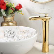 цена на Basin Faucet Brass Sink Mixer Tap Hot & Cold Bathroom Basin Faucet Single Handle Deck Mounted Golden Waterfall Water Crane Mixer
