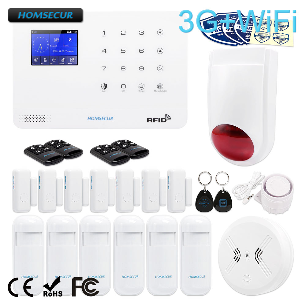 HOMSECUR Wireless LCD 3G WIFI SMS Autodial Home Alarm System With IOS Android APP LA02 3G