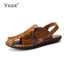 YIGER New Men casual Sandals Beach slippers male genuine Leather waterproof sandals man outdoor men 39 s  0308