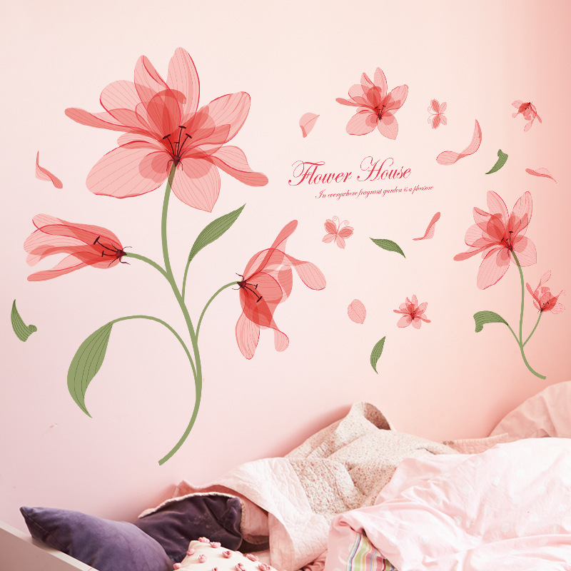 Pink ethereal flower transparent wall sticker clear printing pattern home gardening decorative glass doors and windows decals