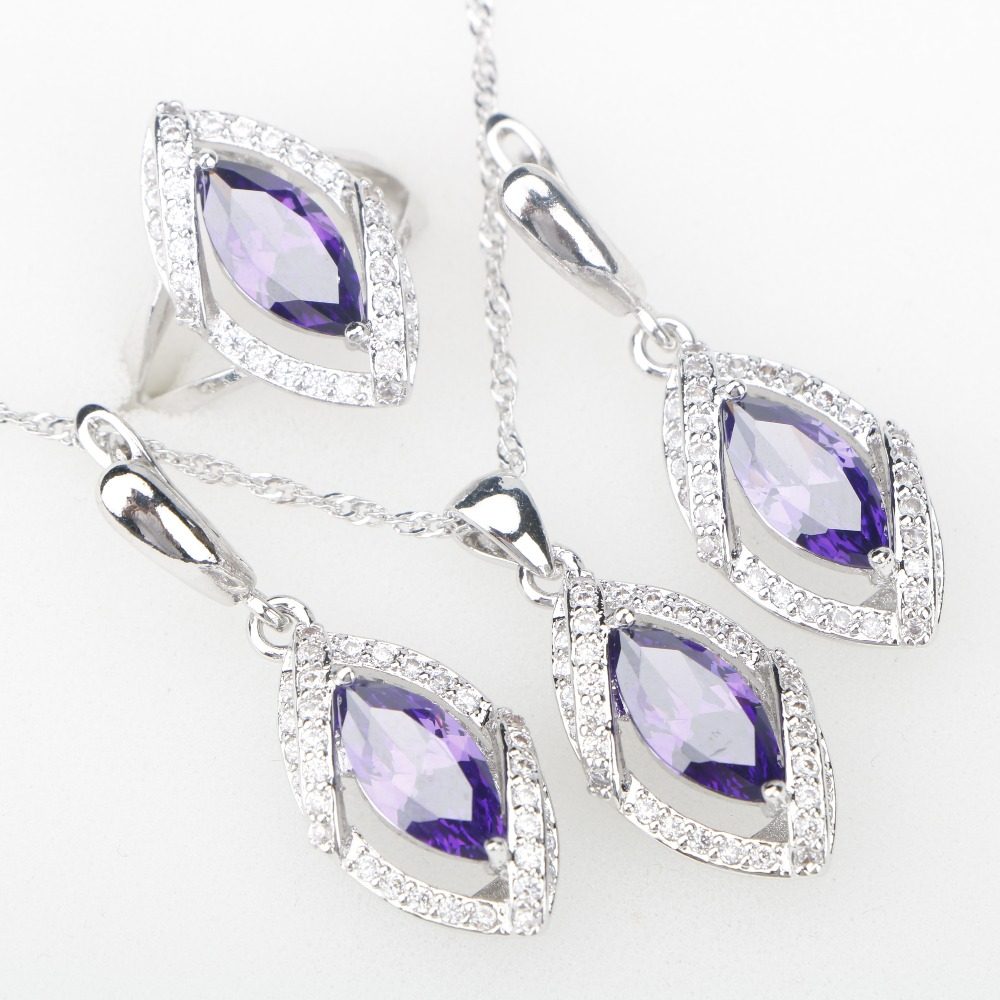 Attractive Purple CZ Silver 925 Costume Jewelry Sets Pendant Necklace Rings Earrings For Women Wedding Jewelery Free Gift Box