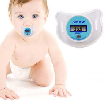 New Babies Nipple Soft Portable Convenient Blue Pink LCD Digital Mouth Pacifier Thermometer with Protective Storage Cover Activity & Gear