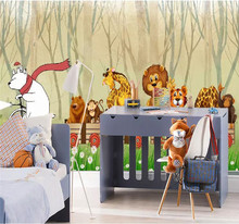 3D wallpaper forest cartoon train animal childrens room background wall professional making mural photo