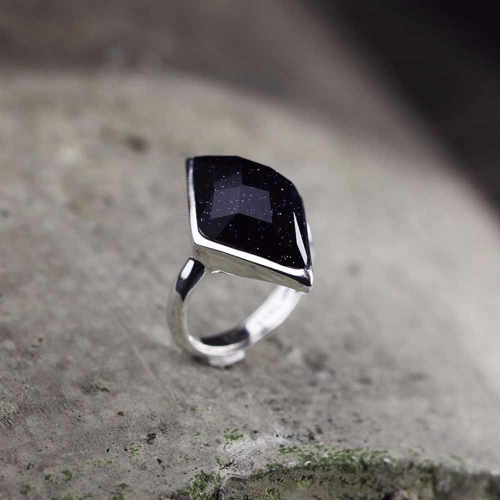 L & Pแฟชั่นใหม่ที่ทำด้วยมืออาเกตสีดำขนมเปียกปูนพื้นผิวหินแหวน925 S Liverแหวนสำหรับผู้หญิงเครื่องประดับปรับของขวัญสาว