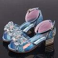 Сандалии для девочек  модные летние детские танцевальные туфли «Холодное сердце»  «Эльза»  сандалии на высоком каблуке  обувь с украшением ...