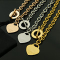 2016 Hot Sell High Quality  Silver/Gold Plated Bangle OT Buckle Hearts Pendant Design Women Necklace NEW YORK Jewelry