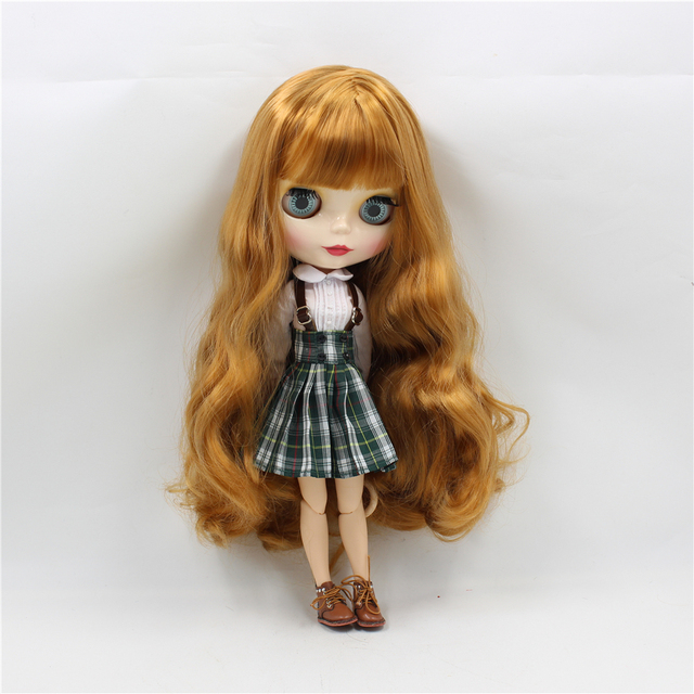 Clothes For 1/6 Blyth Doll Suspender Dress Plaid Skirt with White Shirt Licca ICY Body Free Shipping