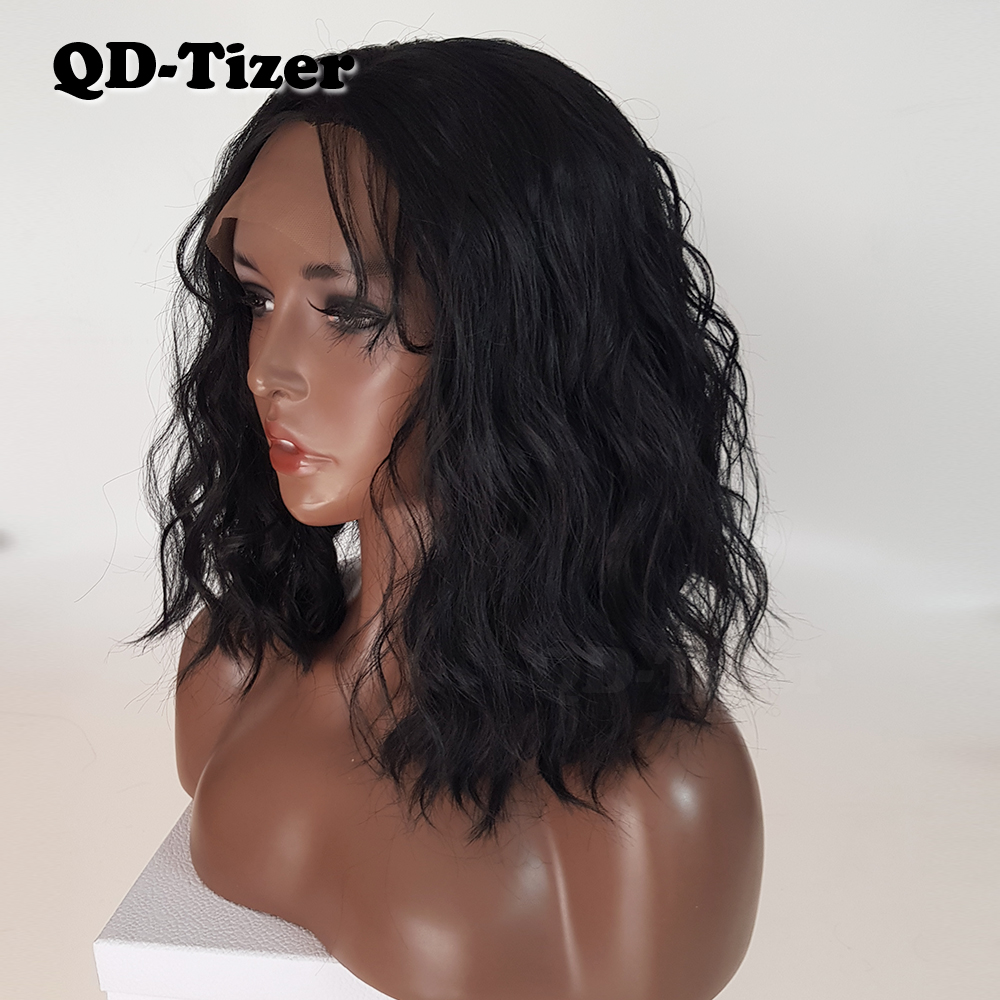 QD-Tizer Short Wavy Hair Black LOB Wig with Baby Hair Synthetic Lace Front Wigs Bob Hair Glueless Lace Front Wig for Women