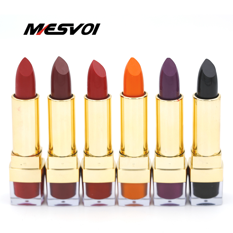 Kozmetikë për buzëkuqë të matur të nxehtë 1 Pics 12 ngjyra Buzëkuq të kuq buzësh të zezë Stick Long Qëndrueshëm M1003