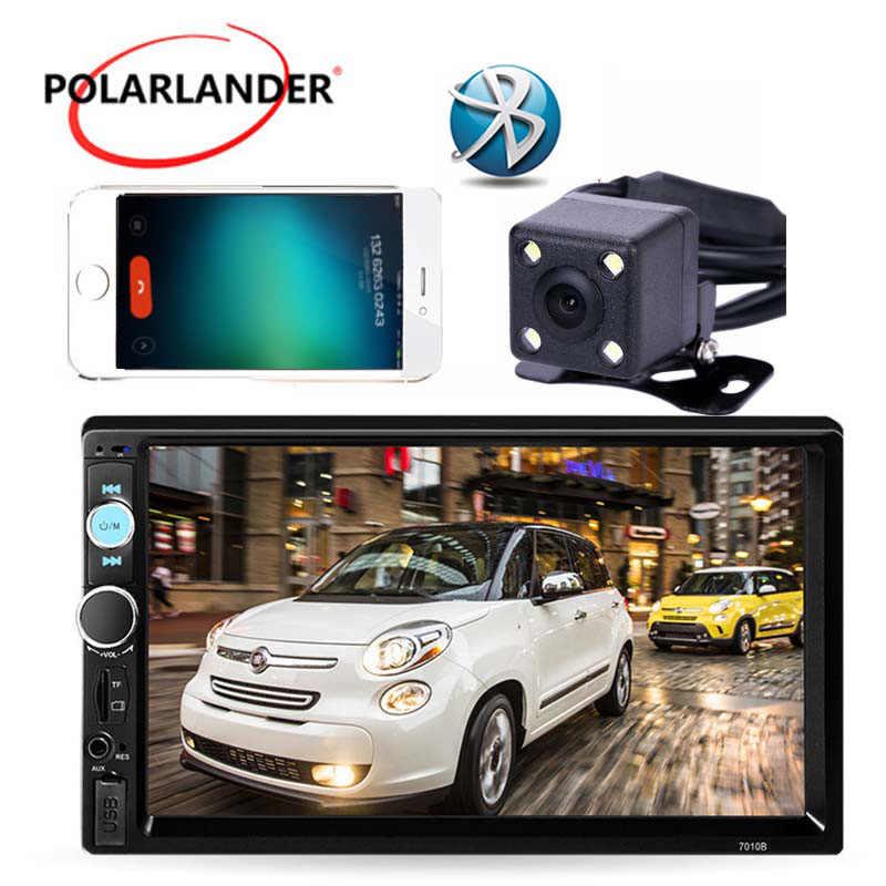 7 Cal z ekranem dotykowym i modułem Bluetooth samochodowy sprzęt Audio Radio Stereo odtwarzacz MP5 MP4 Auto 2 Din AUX FM USB TF z lusterkiem wstecznym