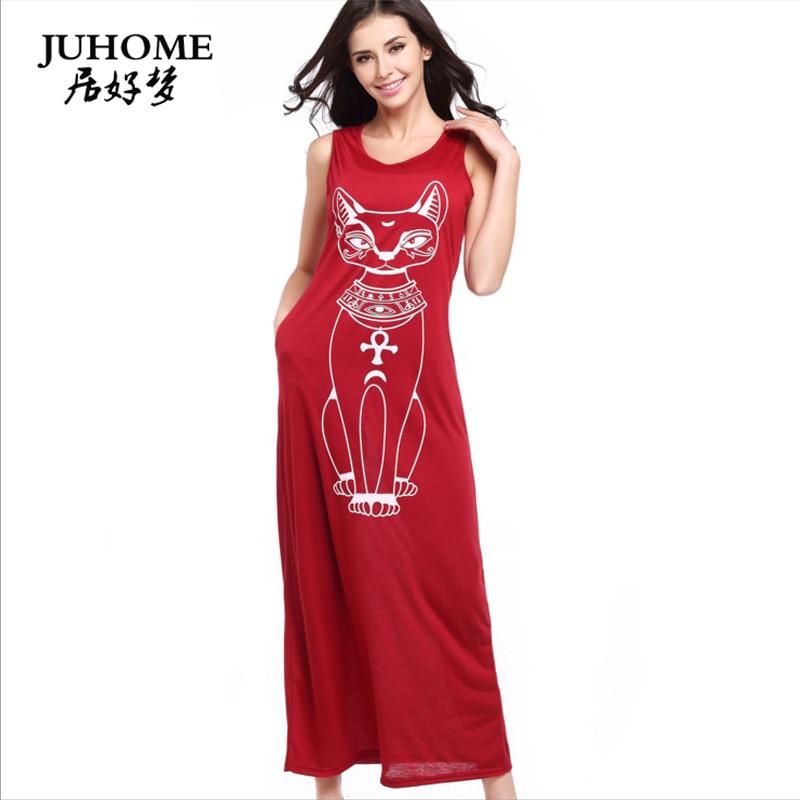 2018 new style T-shirt beah dress hippie boho cat print fashionable Robe Female clothing Summer Sundress Hot Sale maxi vestidos