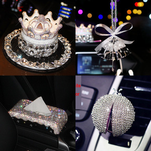 Luxury Crystal Car Interior Accessories Steering Wheel Cover Tissue Box Phone Holder Car Styling Air Outlet Perfume Ornaments(China)