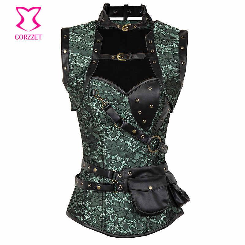 Зеленый цветочный парча черный кожаный Готический корсет топ с курткой сумка ремень стимпанк Одежда Корсеты на стальных косточках и бюстье
