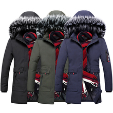 British Newly Fashion Winter Jacket Men Hooded Coats Fur Collar Thick Warm Parka Windbreaker Long Trench Casual Outwear
