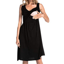 Women's Maternity Solid Dress Nursing Nightgown for Breastfeeding Nightshirt Sleepwear Vestidos Para Embarazadas Gravidas(China)