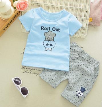 Roupas de criança 2019 Menino Verão Curto-luva Ternos para 1 2 3 4 Ano Roupas de Bebê Novo Conjunto menina T-shirt + Shorts 2Pcs Set QHX026