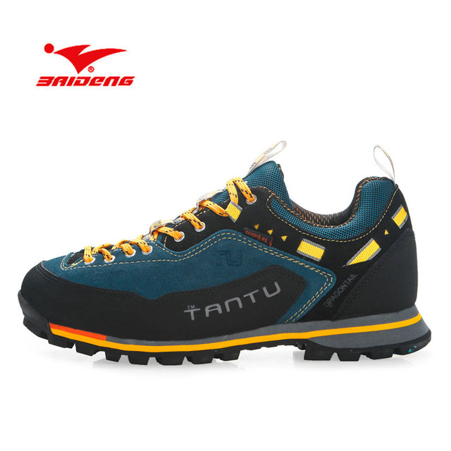 BAIDENG 2019 עמיד למים נעלי הליכה נעלי טיפוס הרים חיצוני הליכה טרקים ספורט סניקרס גברים ציד טרקים